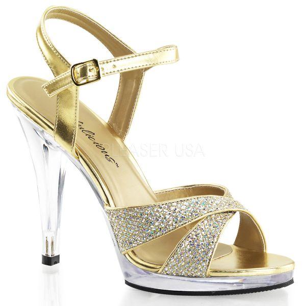 Gold Glitter Strass Riemchen Sandalette mit Mini-Plateau FLAIR-419G